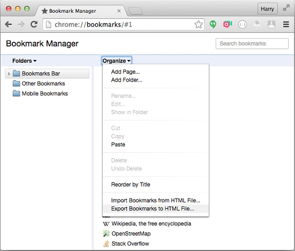 how to import bookmarks from safari to chrome