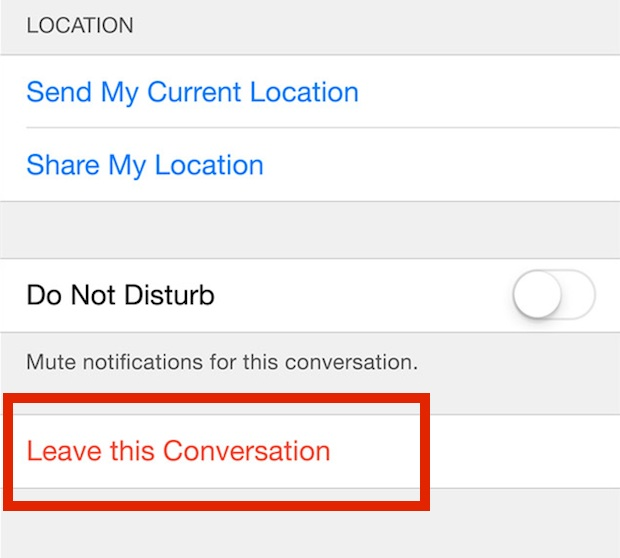 how to leave group message on iphone
